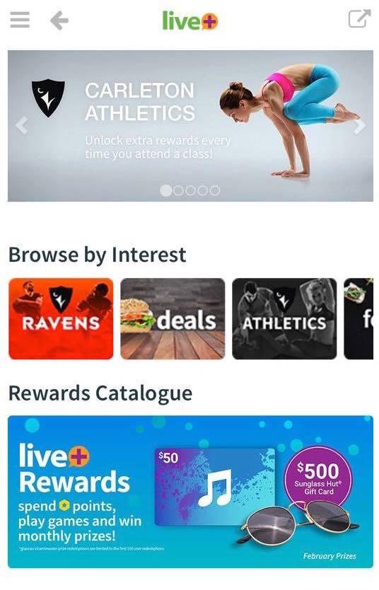 Screenshot of the app live+