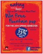 Eating Made Easy with our Off Campus Meal Plans. Win Free Fountain Pop when you purchase an Off Campus meal Plan